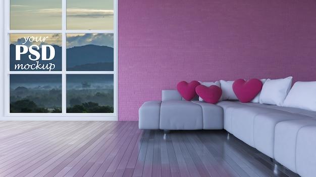 Interieur woonkamer met frame mockup en bekijk mockup