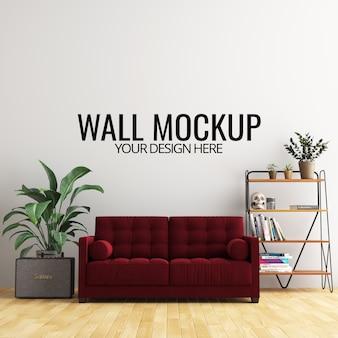 Interieur woonkamer muur achtergrond mockup met meubels en decoratie