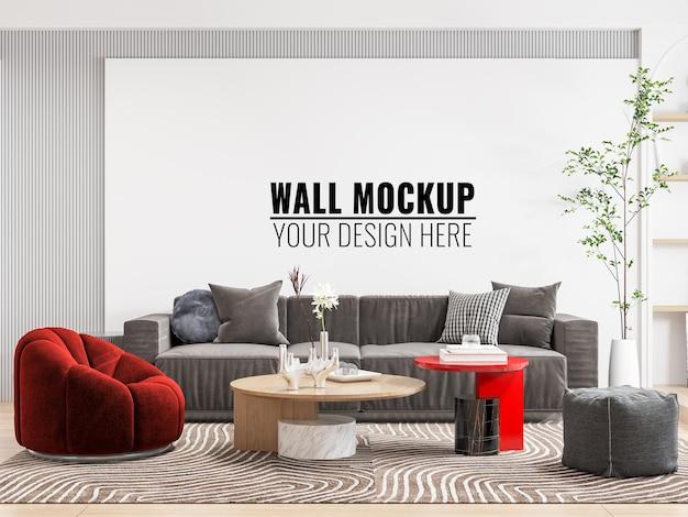 Interieur woonkamer muur mockup - 3d-rendering