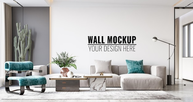 Interieur woonkamer muur mockup