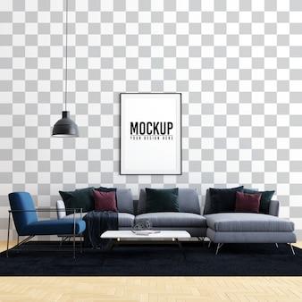 Interieur woonkamer poster frame mock up