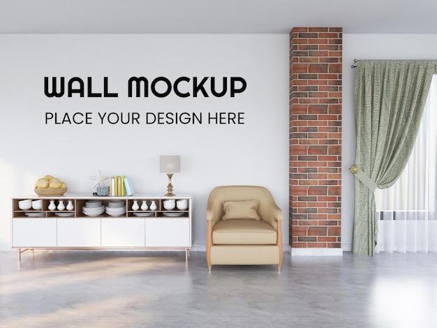 Interieur woonkamer realistische muur mockup