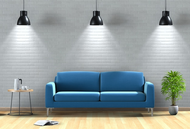 Interieur woonkamer verlichting met sofa. 3d render
