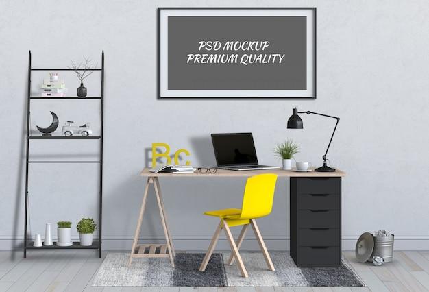 Interieur woonkamer werkruimte met desktop computer en mockup lege poster