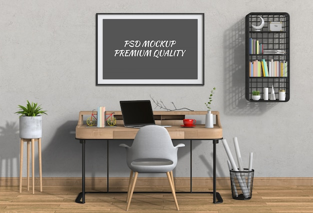 Interieur woonkamer werkruimte met laptopcomputer en mockup lege poster