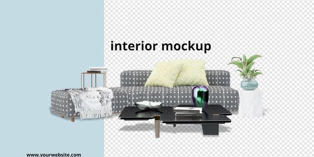 Interieurdecoratie in 3d render mockup