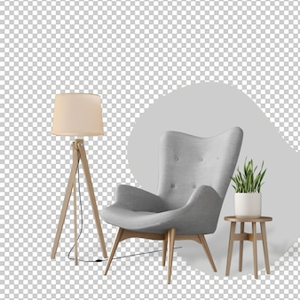 Interieurdecoratie in 3d-rendering