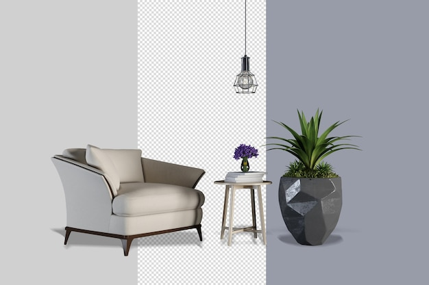 Interieurdecoratie in 3d-rendering