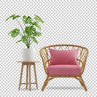 Interieurdecoratie in 3d-weergave