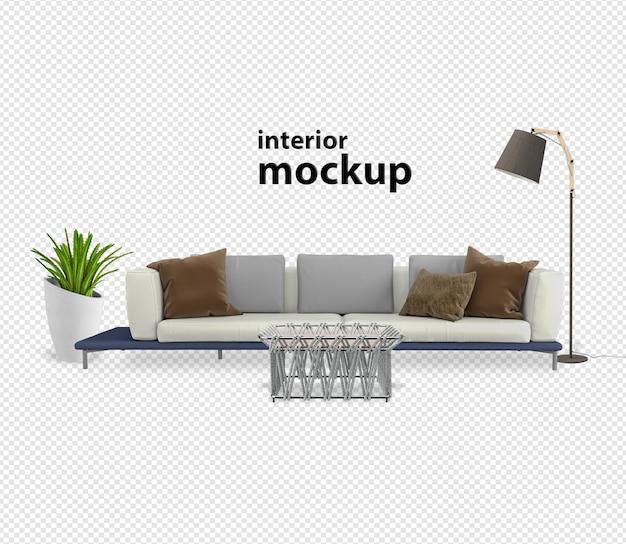 Interieurdecoratie set rendering uitknippad geïsoleerd