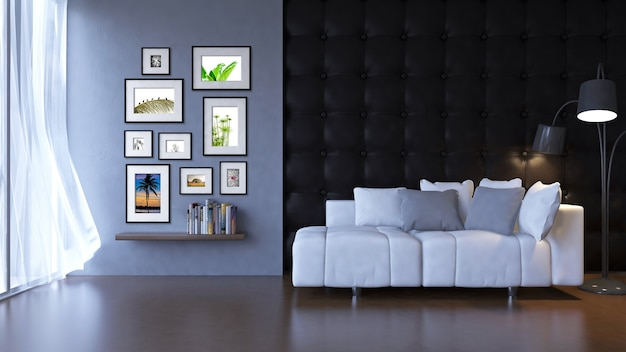 Interieurmodel mockup met bank en frames