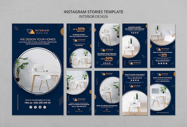 Interieurontwerp instagram verhalen sjabloon