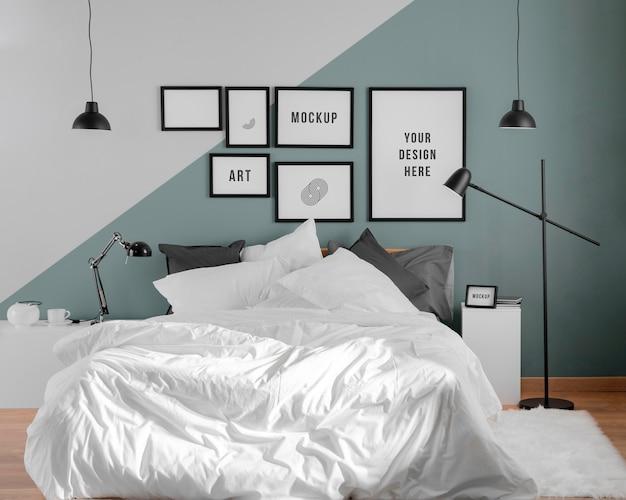 Interieurontwerp met minimale mock-up frames