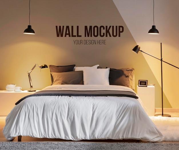 Interieurontwerp met minimale mock-up muur