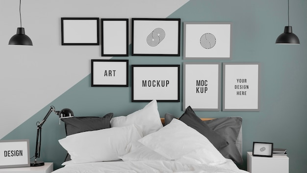 Interieurontwerp met mock-up frames opstelling frames