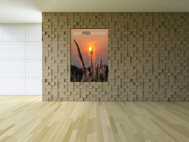 Interieurontwerp mockup met frame op bakstenen muur