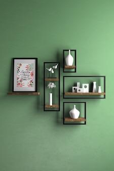 Interior design con oggetti sul muro