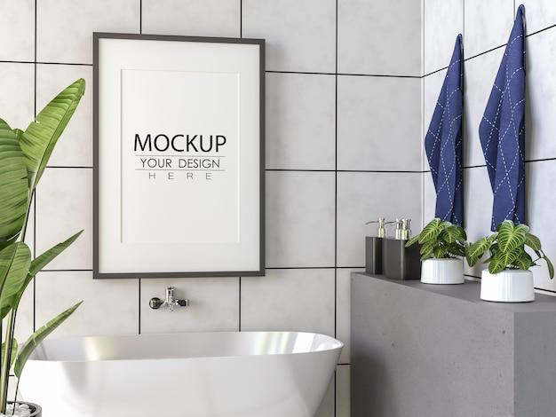 Interior de maqueta de marco de póster en un baño