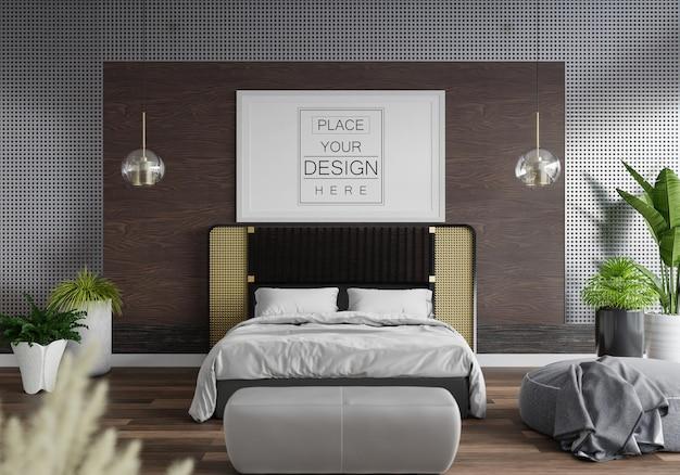Interior de maqueta de marco de póster en un dormitorio