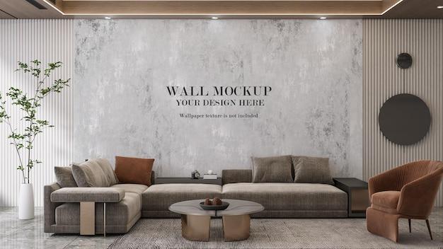 Interior moderno de renderizado 3d con pared de maqueta