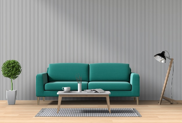 Interior moderno salón con sofá, planta, lámpara, render 3d