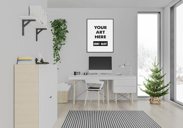 Interior de navidad, maqueta de marco, oficina en casa