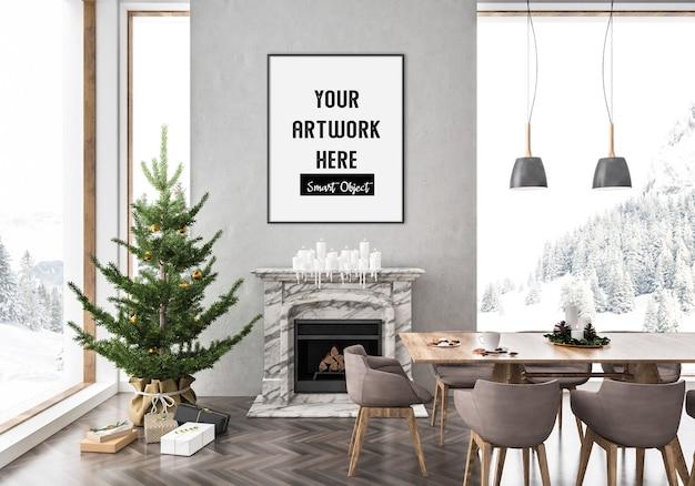 Interior navideño con maqueta de marco vertical