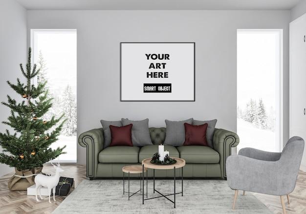 Interior navideño con maqueta de marco