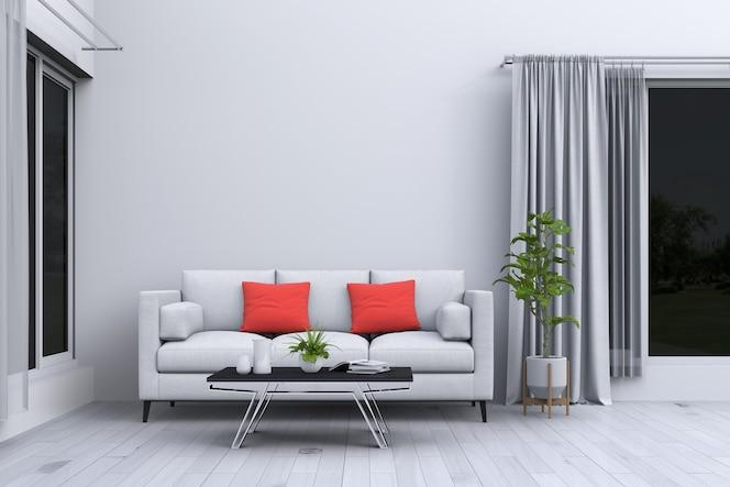 Interior de la sala de estar en estilo moderno con sofá y decoración de renderizado