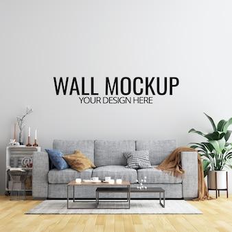 Interior de la sala de pared de fondo maqueta con muebles y decoración