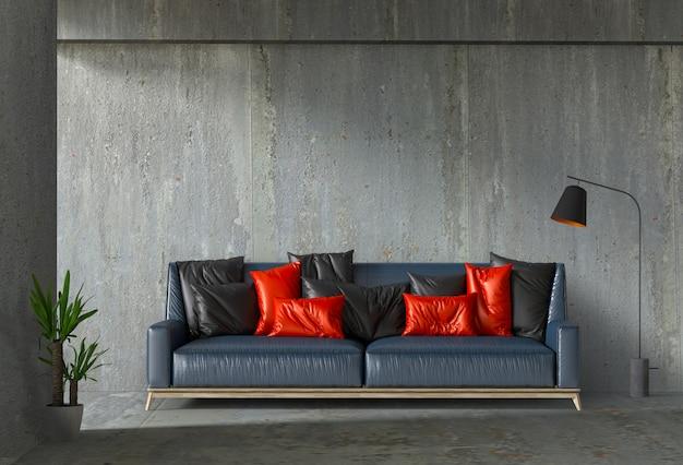Interior de la sala de pared de hormigón con sofá, planta, lámpara.