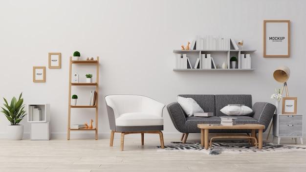 Interior simulacro de sala de estar. representación 3d