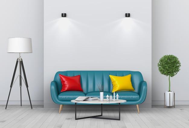 Interiore del salone in stile moderno con divano e decorazioni.