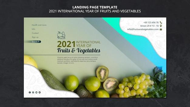 Internationaal jaar van bestemmingspagina voor groenten en fruit