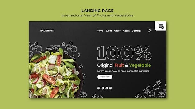 Internationaal jaar van bestemmingspagina voor groenten en fruit Premium Psd