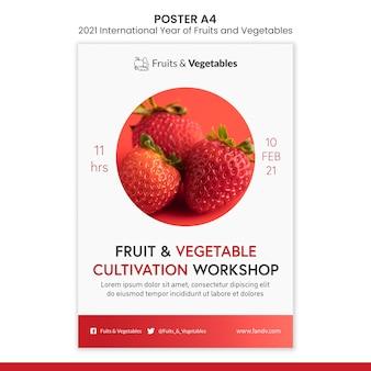 Internationaal jaar van groenten en fruit flyer-sjabloon