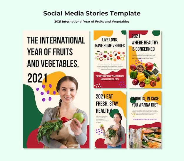 Internationaal jaar van groenten en fruit instagram-verhalen