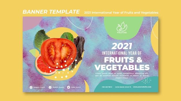 Internationaal jaar van groenten en fruit sjabloon voor spandoek