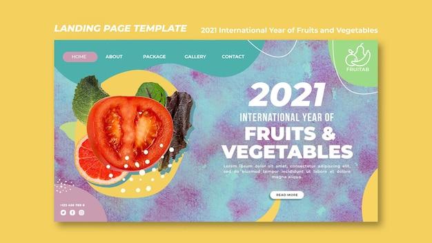 Internationaal jaar van groenten en fruit websjabloon