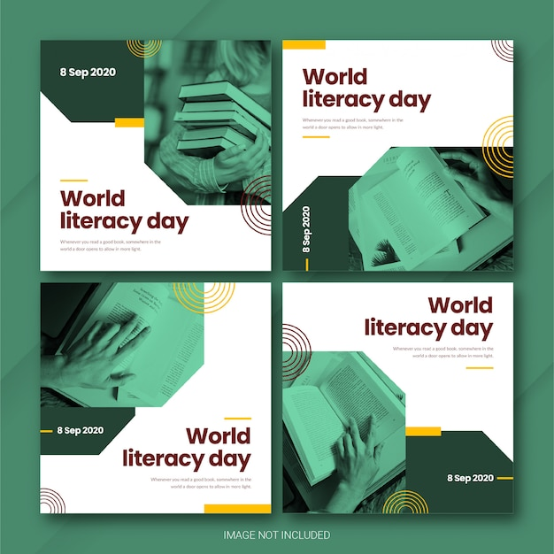International literacy day instagram postbundelsjabloon premium psd
