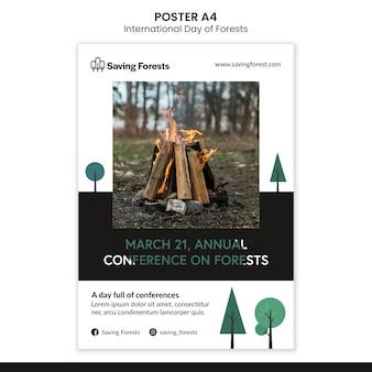 Internationale dag van bossen poster sjabloon