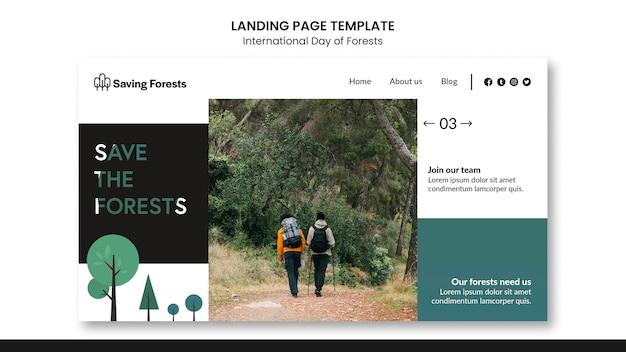 Internationale dag van de bestemmingspagina van bossen