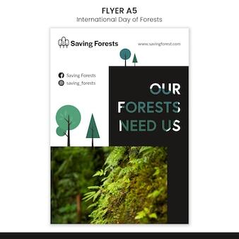 Internationale dag van de bossen folder sjabloon