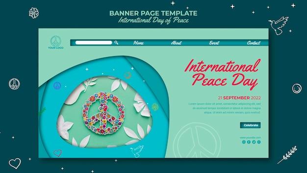 Internationale dag van de vrede banner paginasjabloon