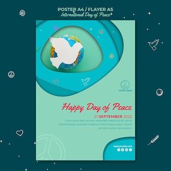 Internationale dag van de vrede-flyer met papieren vogel