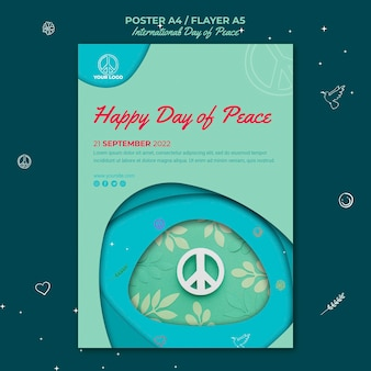 Internationale dag van de vrede-flyer met papieren vredesteken
