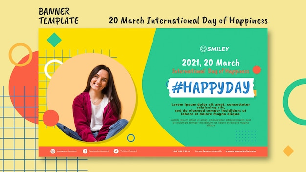 Internationale dag van geluk banner