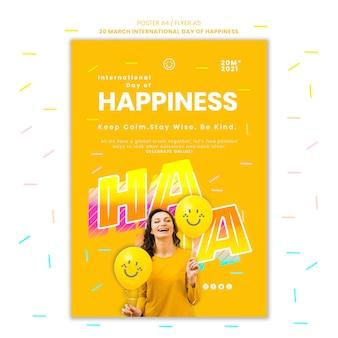 Internationale dag van geluk flyer met foto