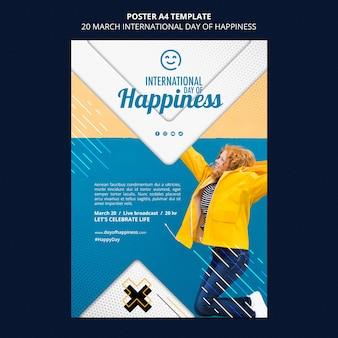 Internationale dag van geluk flyer-sjabloon