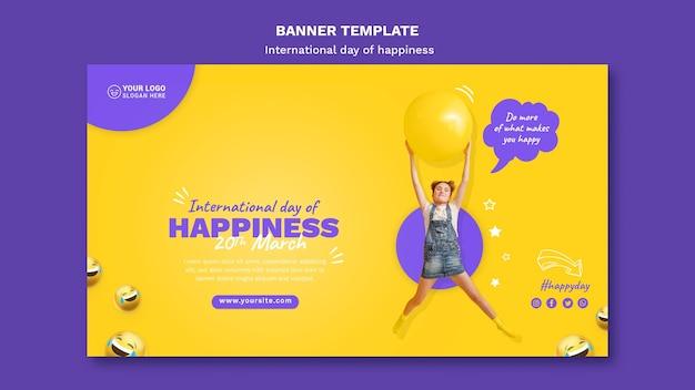 Internationale dag van geluk horizontale sjabloon voor spandoek